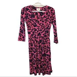 Milly Long Sleeve Pink Black Patterned Dress S
